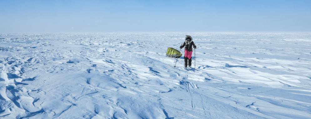 Tout semble si calme. Et pourtant, le vent balaie la glace. De face, il ralentit notre progression. La température est de l'ordre de -30 °C.