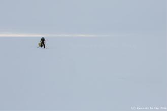 L'horizon parfois disparaît, et nous laisse seuls, sans repère, dans le brouillard. La navigation sur les vagues de glace devient alors plus compliquée, mais nous tenons le cap.